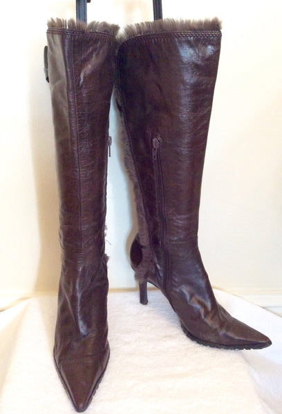 Nine West Brown Faux Fur Trim Boots Size Us 6, Uk 3.5/36 - Whispers Dress Agency - Womens Boots - 1