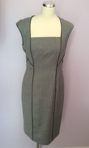Coast Grey & Black Trim Wool Blend Pencil Dress Size 12 - Whispers Dress Agency - Sold - 1