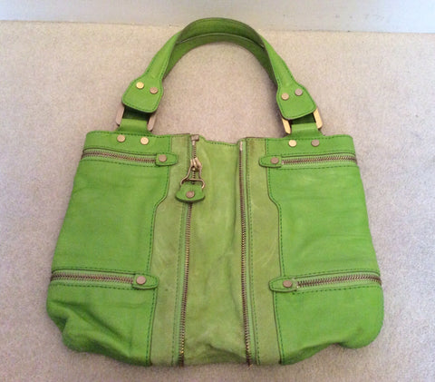 Jimmy Choo Neon Green Leather / Suede Mona Bag - Whispers Dress Agency - Sold - 5
