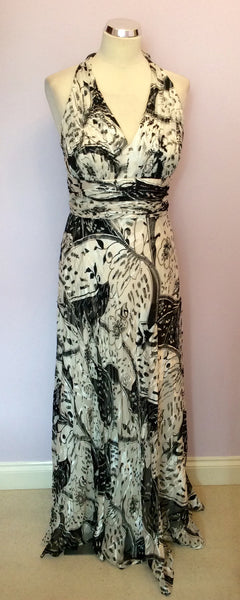 Brand New Apanage Black & White Print Silk Halterneck Maxi Dress Size 18 - Whispers Dress Agency - Sold - 1