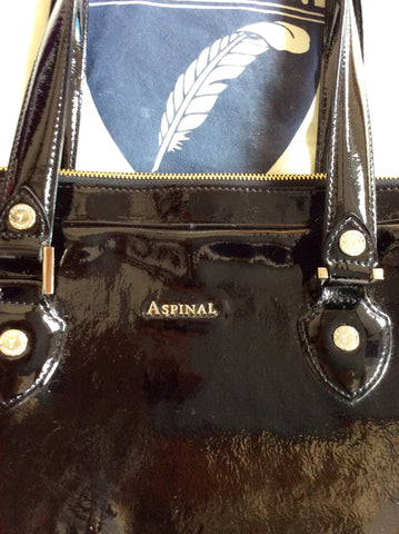 ASPINAL BLACK PATENT LEATHER SOFT LAPTOP TOTE BAG - Whispers Dress Agency - Shoulder Bags - 5