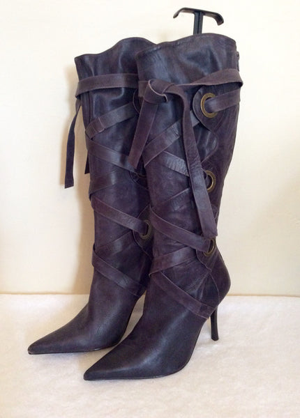 New Faith Damson Leather Lace Up Strap Boots Size 7/40 - Whispers Dress Agency - Sold - 1
