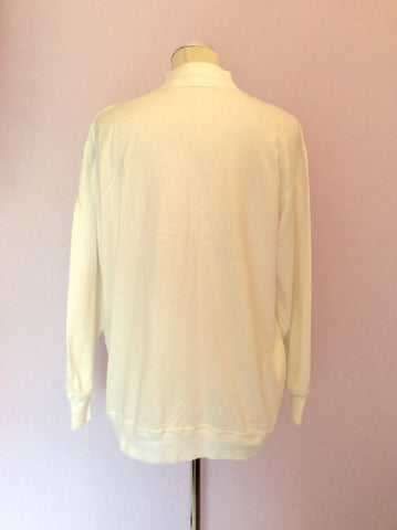 Vintage Jaeger White & Gold Button Up Top Size M - Whispers Dress Agency - Womens Vintage - 2