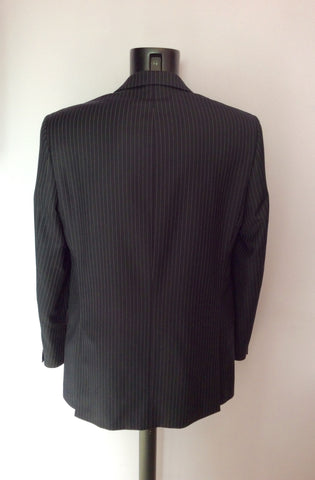 Racing Green Navy Blue Pinstripe Wool Suit Size 40L/ 34L - Whispers Dress Agency - Mens Suits & Tailoring - 3