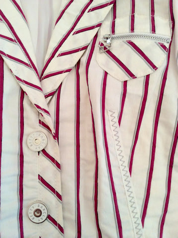 Betty Barclay White, Pink & Grey Striped Jacket Size 16 - Whispers Dress Agency - Womens Coats & Jackets - 2