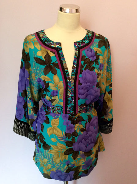 Monsoon Multicoloured Floral Print Silk Top Size 16 - Whispers Dress Agency - Sold - 1
