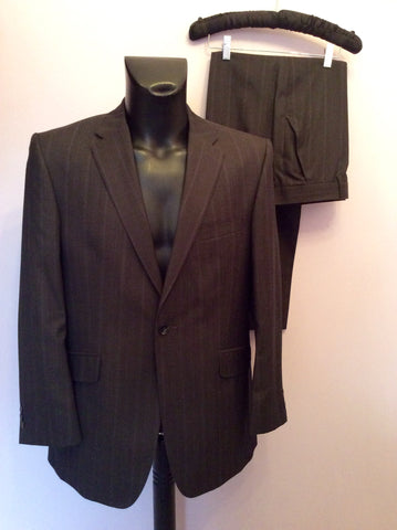 Studio By Jeff Banks Dark Charcoal Grey Pinstripe Wool Suit Size 40/34 Short - Whispers Dress Agency - Mens Suits & Tailoring - 1