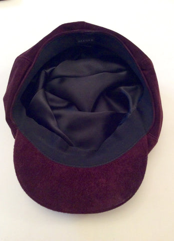 Brand New Jaeger Claret Suede Baker Boy Cap One Size - Whispers Dress Agency - Sold - 2