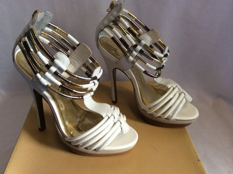 Brand New Carvela Ghostly White Leather Heeled Sandals Size 6/39 - Whispers Dress Agency - Womens Sandals - 2