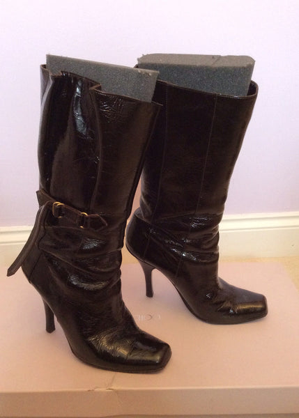 Jimmy Choo Brown Crushed Patent Leather Calf Length Boots Size 5.5 /38.5 - Whispers Dress Agency - Womens Boots - 1