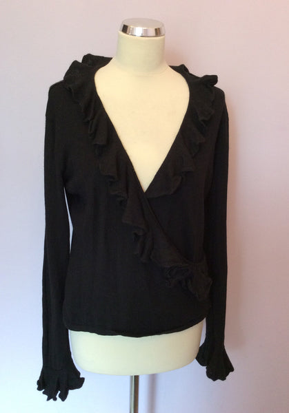 Ralph Lauren Black Silk & Cashmere Wrap Across Jumper Size L - Whispers Dress Agency - Sold - 1