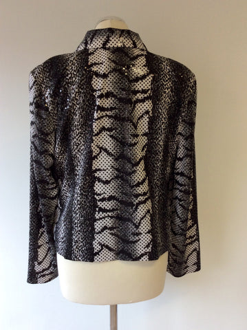 JOSEPH RIBKOFF BLACK & WHITE PRINT TOP & JACKET SIZE 16 - Whispers Dress Agency - Sold - 4
