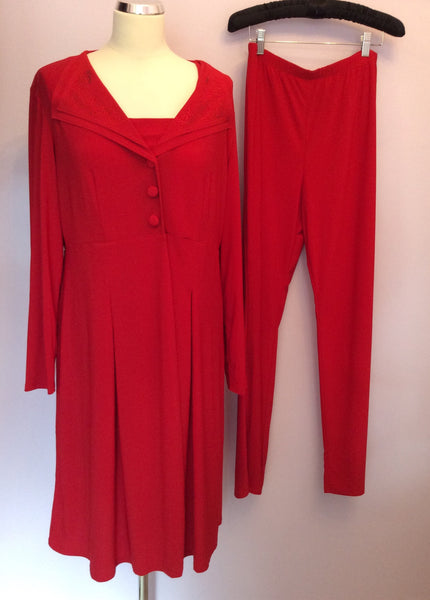 Brand New With Tags Antthony Studio Red 3 Piece Trouser Suit Size L - Whispers Dress Agency - Sold - 1