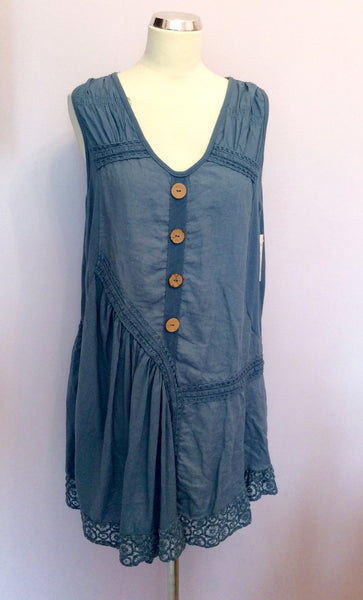 BRAND NEW MADE IN ITALY BLUE LINEN TUNIC TOP SIZE XL - Whispers Dress Agency - Womens Tops - 1