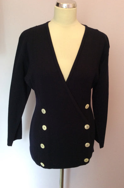 Vintage Jaeger Dark Blue Wool Cardigan / Jacket Size S - Whispers Dress Agency - Sold - 1