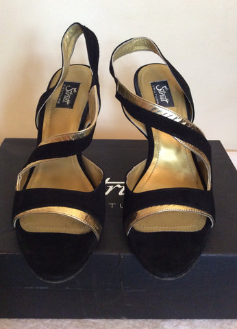 Strutt Couture Black & Gold Wedge Heel Sandals Size 6/39 - Whispers Dress Agency - Womens Wedges - 3
