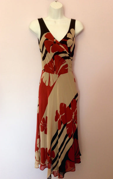 Monsoon Black, Beige & Red Floral Print Silk Dress Size 8 - Whispers Dress Agency - Womens Dresses - 1