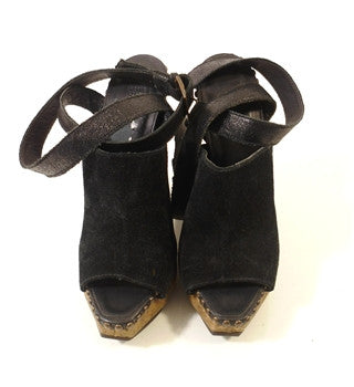 Brand New Herve Leger Black Suede & Cork Sandals Size 3.5/36 - Whispers Dress Agency - Womens Sandals - 4