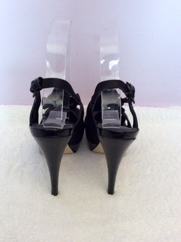 Carvela Black Satin Corsage Peeptoe Slingback Heels Size 5/38 - Whispers Dress Agency - Womens Heels - 4