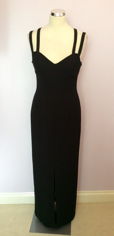 Brand New After Six By Roland Joyce Black Strappy Long Evening Dress Size 10 - Whispers Dress Agency - Womens Dresses - 1