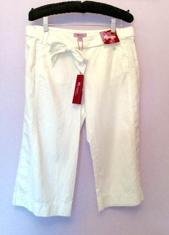 Brand New Monsoon White Cotton & Linen Long Shorts Size 12 - Whispers Dress Agency - Womens Shorts - 1