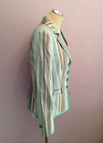 Basler Turqouise, White & Grey Stripe Jacket Size 14 - Whispers Dress Agency - Womens Coats & Jackets - 2