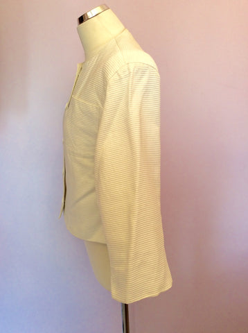 Vintage Jaeger Ivory Cotton Ribbed Box Jacket Size 10 - Whispers Dress Agency - Womens Vintage - 3