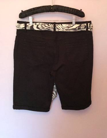 Smart Lakeland Black Shorts With Tie Scarf Belt Size 14 - Whispers Dress Agency - Womens Shorts - 2