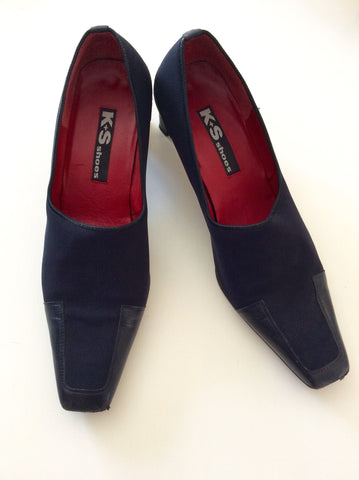 K+S Dark Blue Leather & Textile Court Shoes Size 7/40 - Whispers Dress Agency - Womens Heels - 1