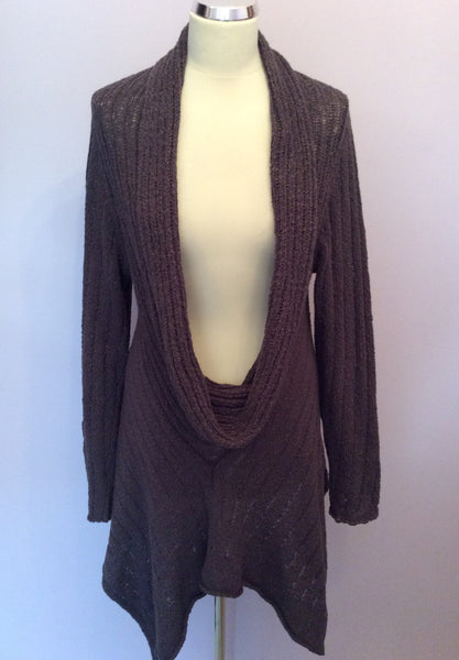 Sandwich Brown Cotton Deep Cowl Neck Jumper Size L - Whispers Dress Agency - Womens Knitwear - 1