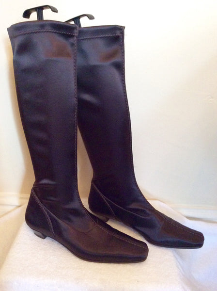 Adolfo Dominguez Brown Satin Stretch Knee High Boots Size 5/38 - Whispers Dress Agency - Womens Boots - 1