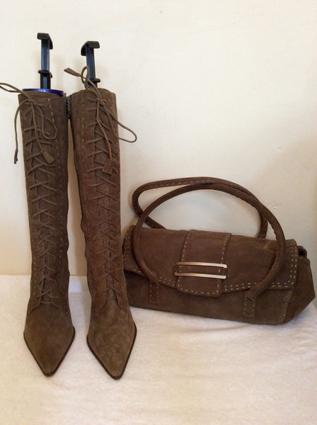 Brand New Ann Taylor Light Brown Suede Boots & Matching Handbag Size 3.5/36 - Whispers Dress Agency - Sold - 1