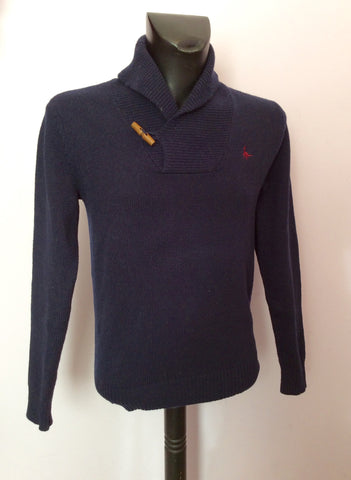 JACK WILLS DARK BLUE COLLARED V NECK LAMBSWOOL JUMPER SIZE S - Whispers Dress Agency - Mens Knitwear - 1