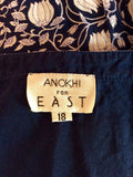 ANOKHI FOR EAST BLUE & WHITE FLORAL PRINT COTTON DRESS SIZE 18 - Whispers Dress Agency - Sold - 5