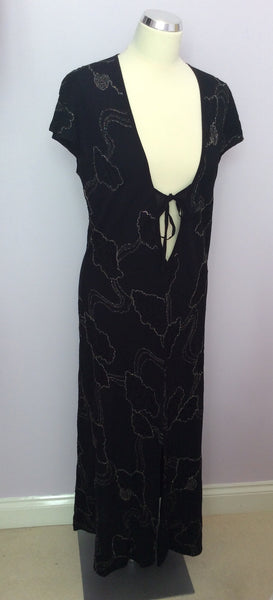 Ghost Black & Silver Embroidery Deep V Neckline Dress Size M - Whispers Dress Agency - Sold - 1