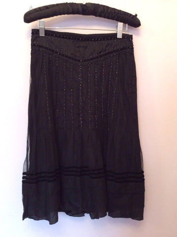 BRAND NEW DAY BY BIRGER ET MIKKELSEN BLACK SEQUIN TRIM SKIRT SIZE 34 UK 6 - Whispers Dress Agency - Womens Skirts - 1
