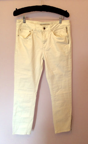 KAREN MILLEN WHITE CROP JEANS SIZE 12 - Whispers Dress Agency - Womens Jeans - 1