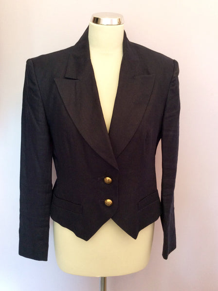 Vintage Jaeger Navy Blue Linen Jacket Size 12 - Whispers Dress Agency - Womens Vintage - 1