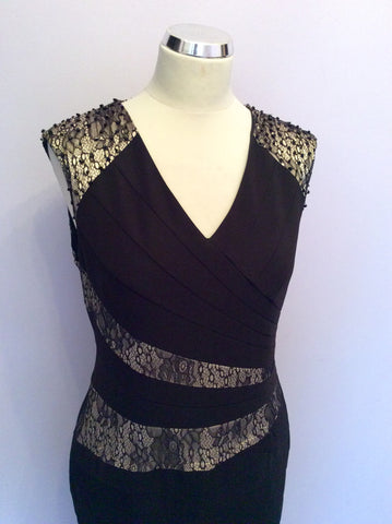 Brand New Alexon Black & Pale Gold Lace Trim Occasion Dress Size 14 - Whispers Dress Agency - Womens Dresses - 2