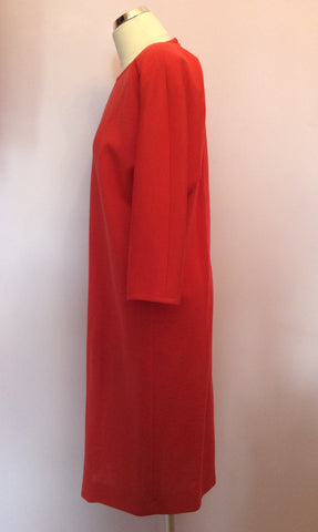 Vintage Jaeger Coral Red Wool Dress Size 10 - Whispers Dress Agency - Womens Vintage - 2