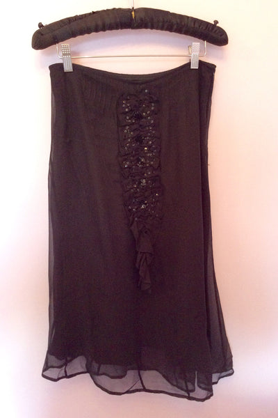 Night By Birger Et Mikkelsen Black Sequin Trim Silk Skirt Size 10 - Whispers Dress Agency - Womens Skirts - 1
