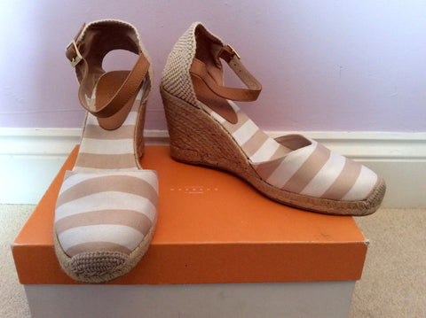 Brand New John Lewis Beige & White Stripe Wedge Heel Sandals Size 7.5/41 - Whispers Dress Agency - Womens Sandals - 1