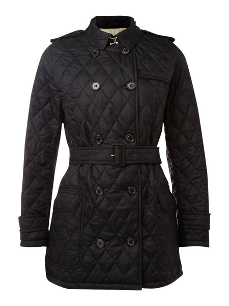 Barbour Black Valerie Quilted Trench Coat Size 16 - Whispers Dress Agency - Sold - 1