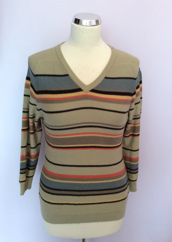 Jaeger Beige & Multi Coloured Stripe Cotton Jumper Size S - Whispers Dress Agency - Womens Knitwear - 1