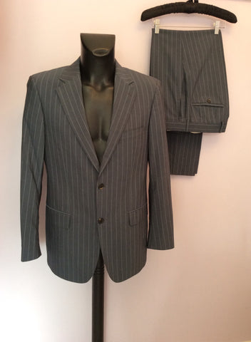 Hugo Boss Grey Pinstripe Wool Suit Size 38R /36W - Whispers Dress Agency - Mens Suits & Tailoring - 1