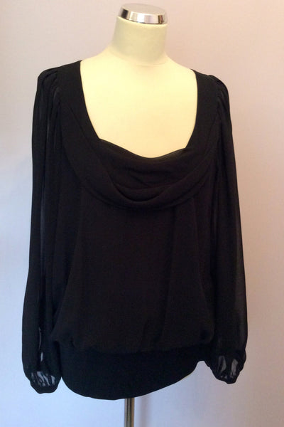 Coast Black Scoop Neck Long Sheer Sleeve Top Size 16 - Whispers Dress Agency - Sold - 1