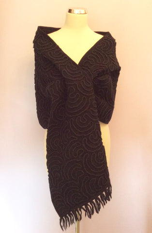 Stunning Black Appliqué Design Wool Wrap - Whispers Dress Agency - Womens Scarves & Wraps - 1