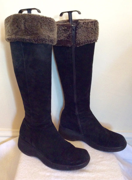 Jigsaw Black Suede Knee High Faux Fur Trim Boots Size 6/39 - Whispers Dress Agency - Womens Boots - 1