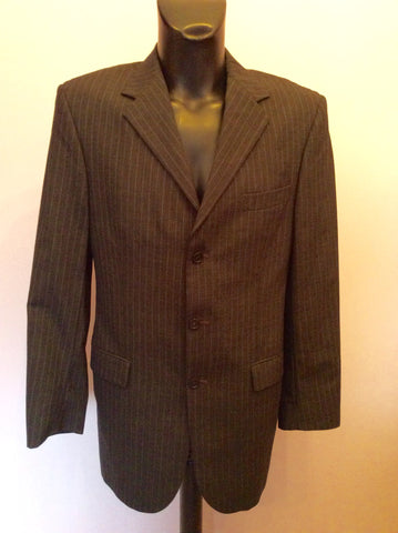 YVES SAINT LAURENT DARK GREY PINSTRIPE WOOL JACKET SIZE 40L - Whispers Dress Agency - Mens Suits & Tailoring - 1