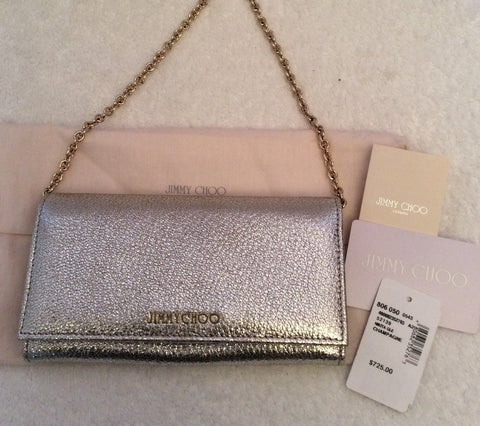 Brand New Jimmy Choo Nikita Champagne Glitter Wallet - Whispers Dress Agency - Clutch Bags - 6
